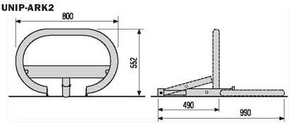 автоматический барьер CAME UNIPARK ARK2 габаритные размеры