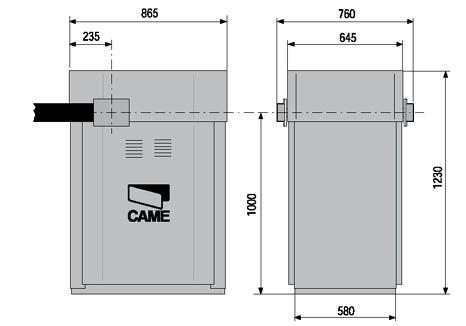 Автоматический шлагбаум CAME серии GARD 12000 габаритные размеры