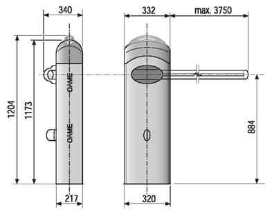 автоматические шлагбаумы CAME серии GARD 4040 габаритные размеры