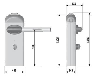 автоматических шлагбаумов CAME серии GARD 8000 габаритные размеры